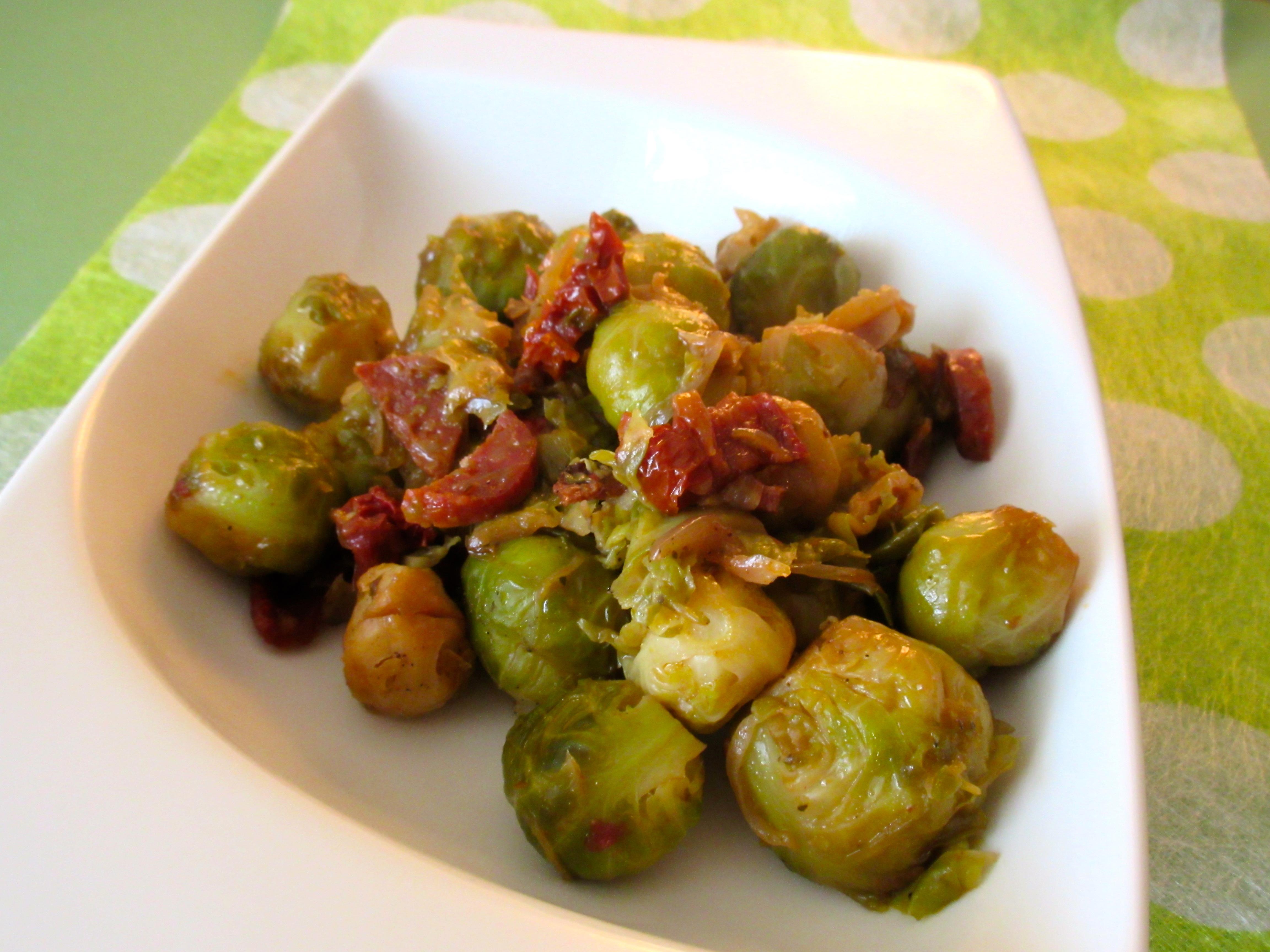 poêlée de choux de bruxelles au chorizo et tomates confites : diet