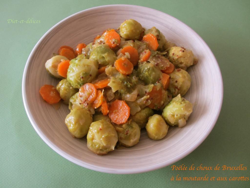 Poêlée de choux de Bruxelles à la moutarde et aux carottes