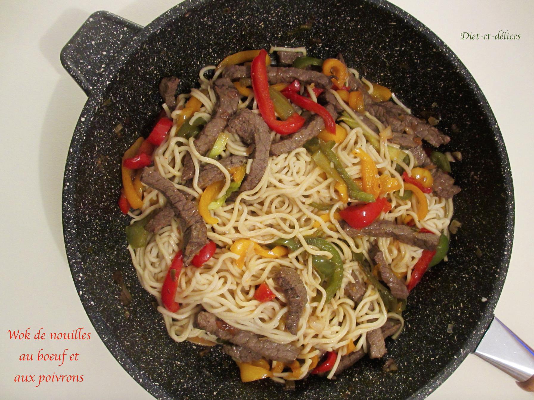 wok de nouilles au boeuf et aux poivrons diet d lices recettes diet tiques. Black Bedroom Furniture Sets. Home Design Ideas