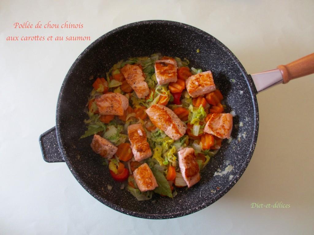 Poêlée de chou chinois aux carottes et au saumon
