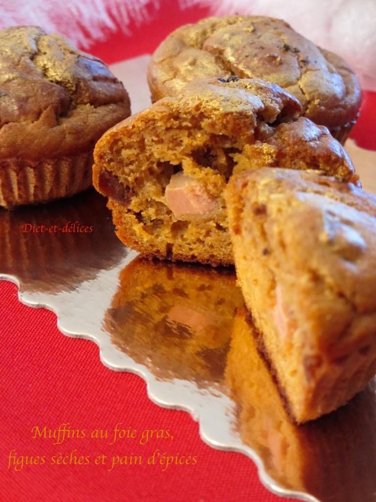 Muffins au foie gras, figues sèches et pain d'épices