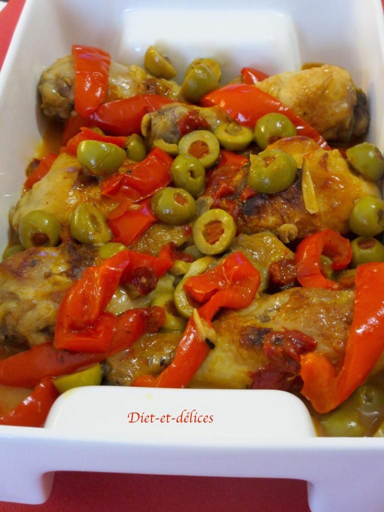Pilons de poulet aux olives et aux poivrons
