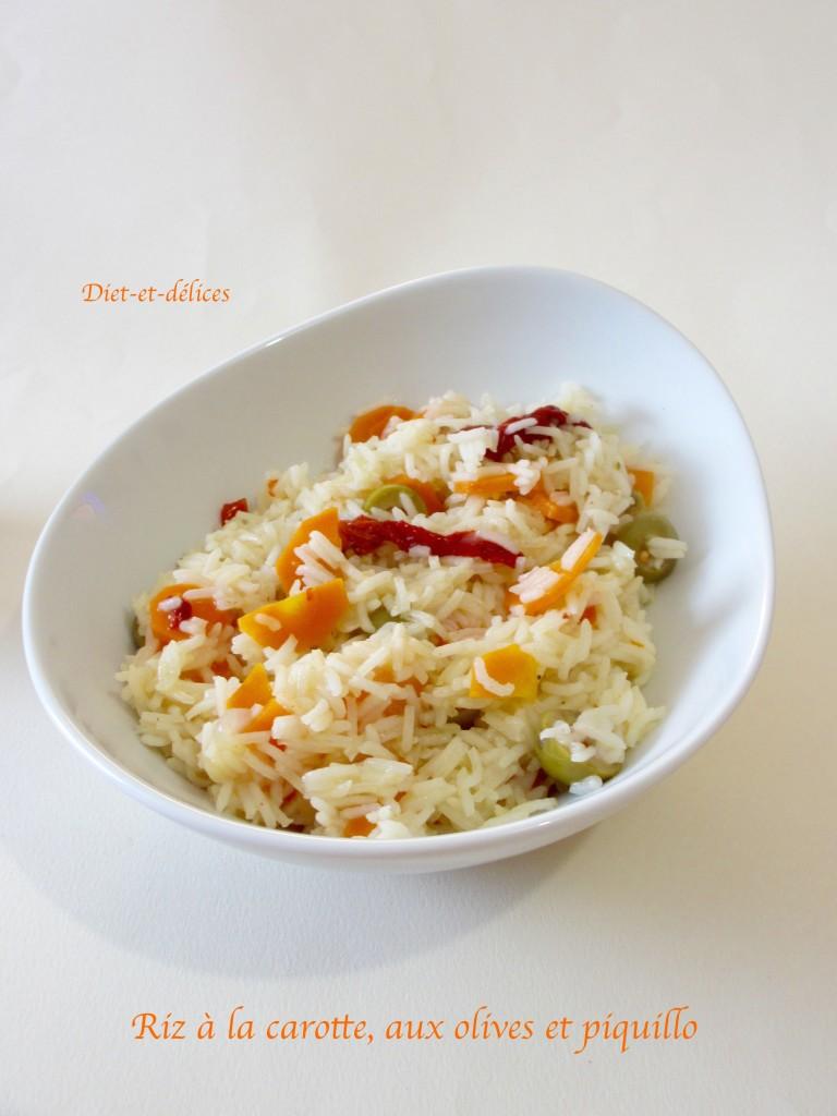 Riz à la carotte, aux olives et piquillo
