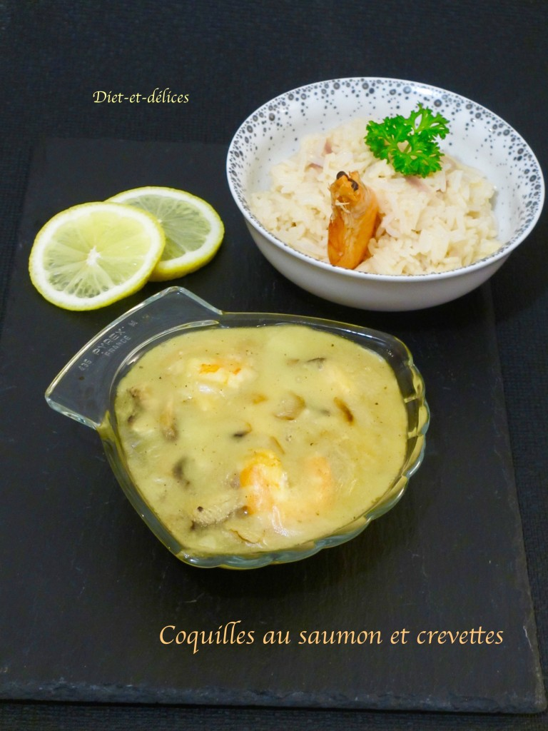 Coquilles au saumon et crevettes