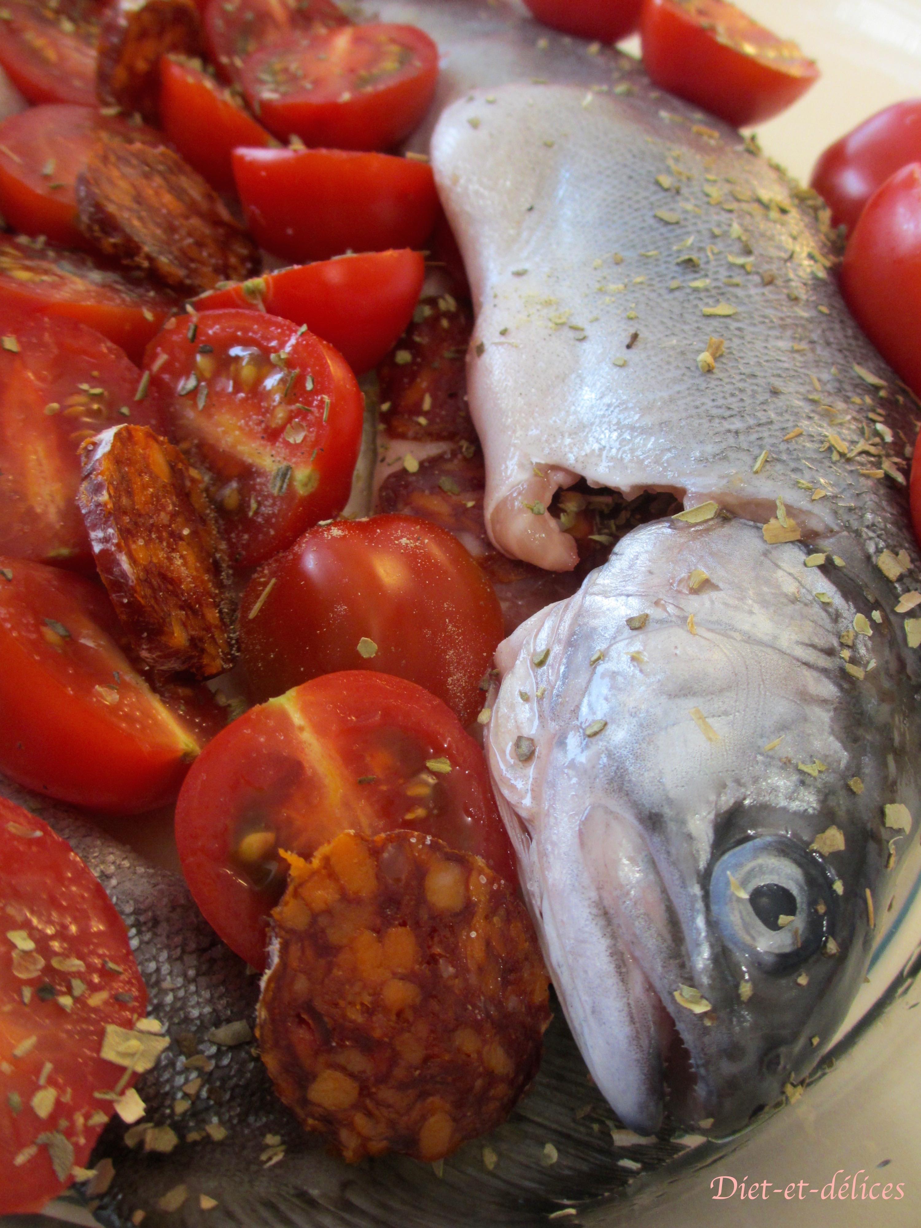 truites au four chorizo et tomates cerises diet d lices recettes diet tiques. Black Bedroom Furniture Sets. Home Design Ideas