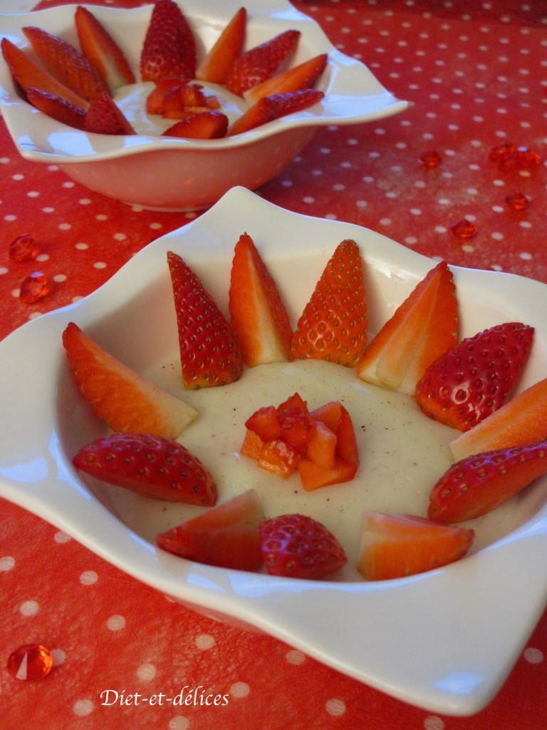Crème dessert au basilic et aux fraises