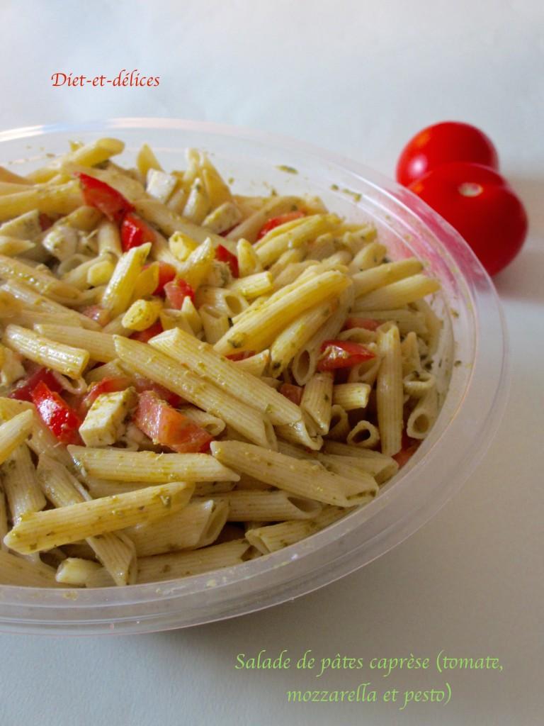 Salade de pâtes caprèse (tomate, mozzarella et pesto)