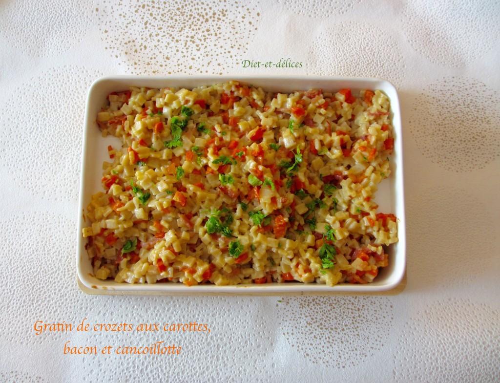 Gratin de crozets aux carottes, bacon et cancoillotte