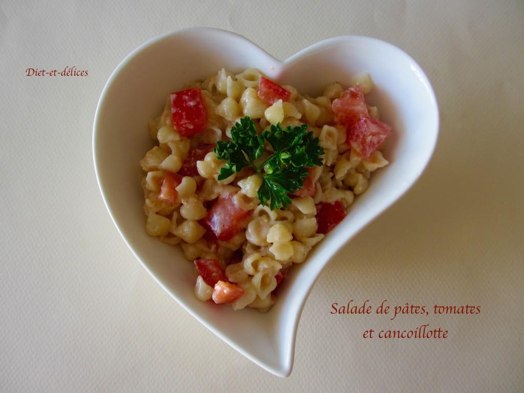 Salade de pâtes, tomates et cancoillotte