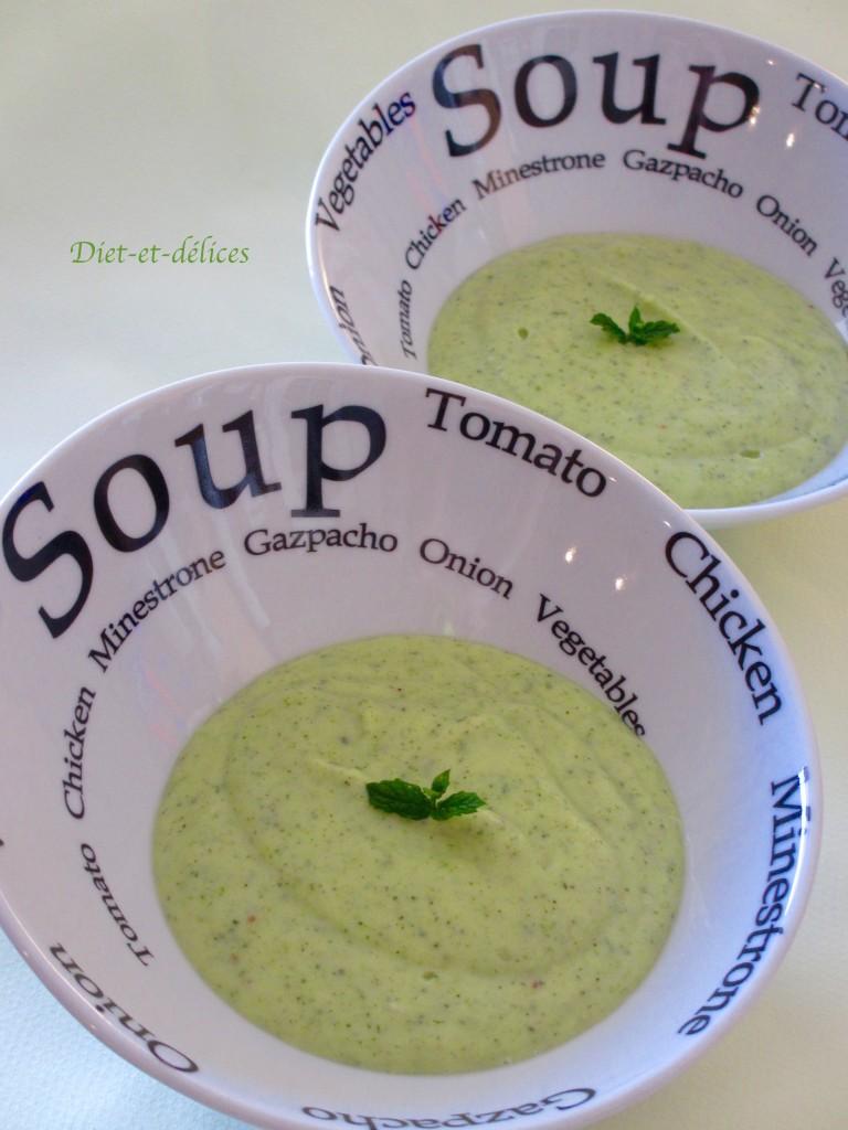 Soupe froide à la courgette et à la menthe