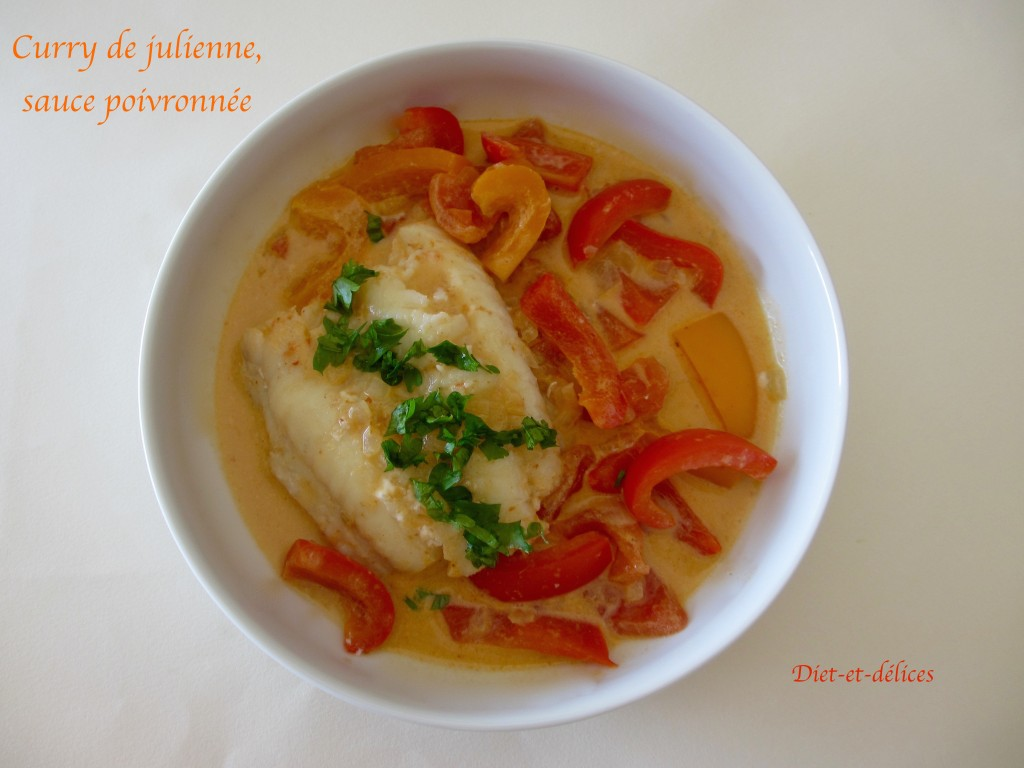 Curry de julienne, sauce poivronnée
