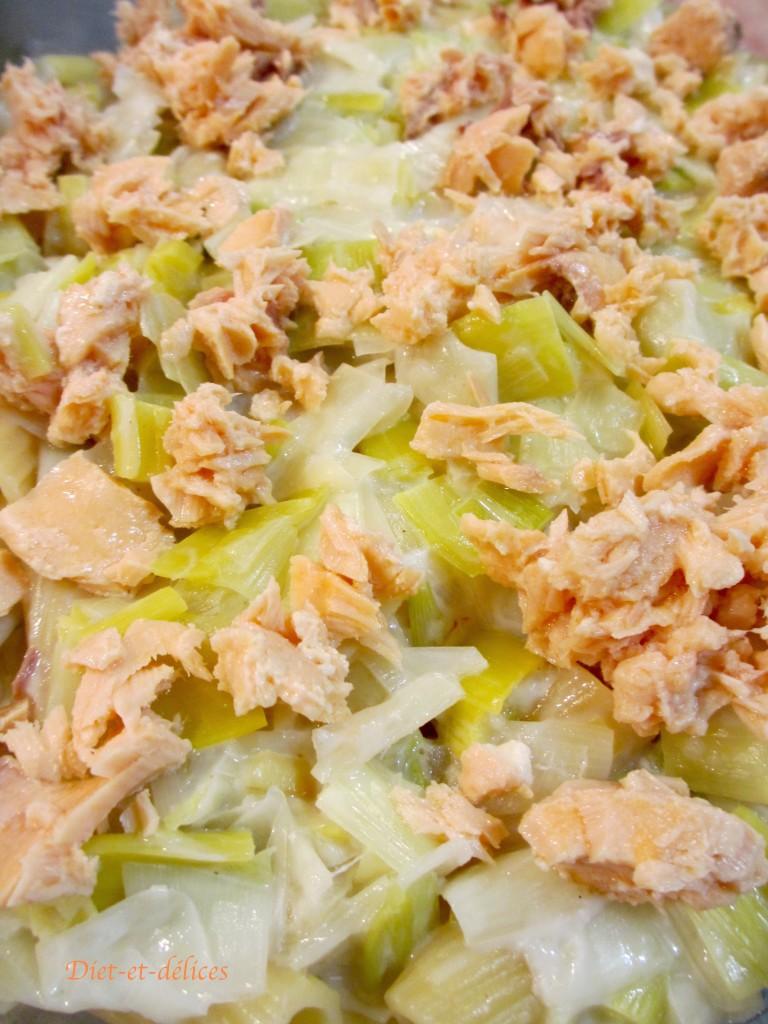 Gratin léger de pâtes aux poireaux et au saumon