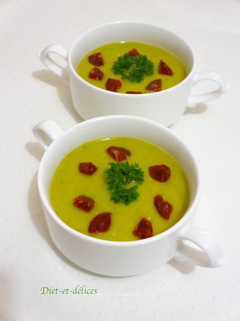 Soupe de poireaux, chorizo et persil au cook expert