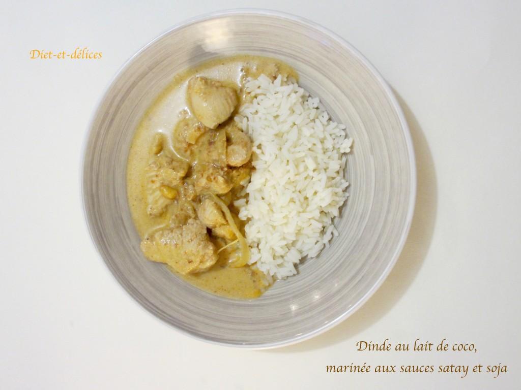 Dinde au lait de coco, marinée aux sauces satay et soja