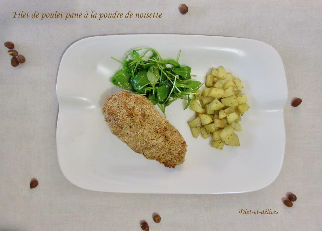 filet de poulet pan la poudre de noisette diet d lices recettes diet tiques. Black Bedroom Furniture Sets. Home Design Ideas